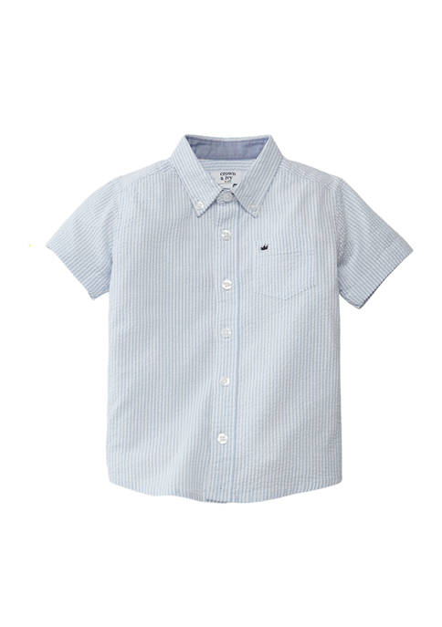 Crown & Ivy™ Toddler Boys Short Sleeve Button-Down