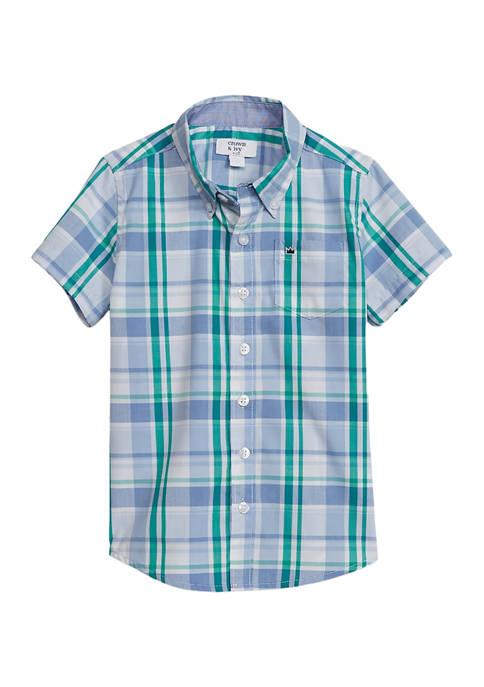 Toddler Boys Short Sleeve Poplin Button Front Shirt
