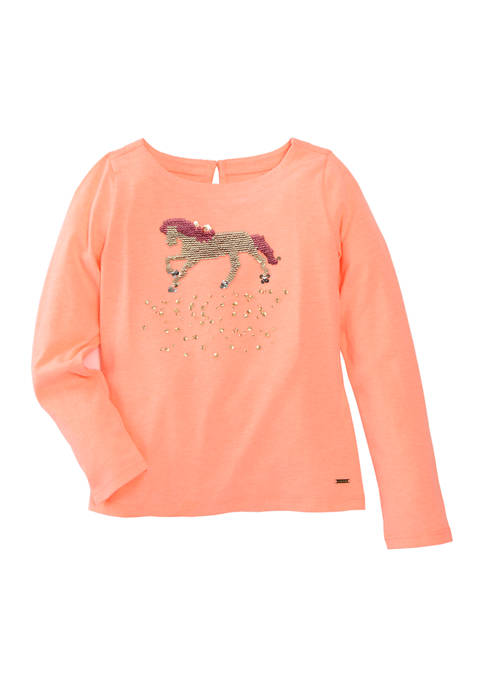 Crown & Ivy™ Toddler Girls Long Sleeve Graphic