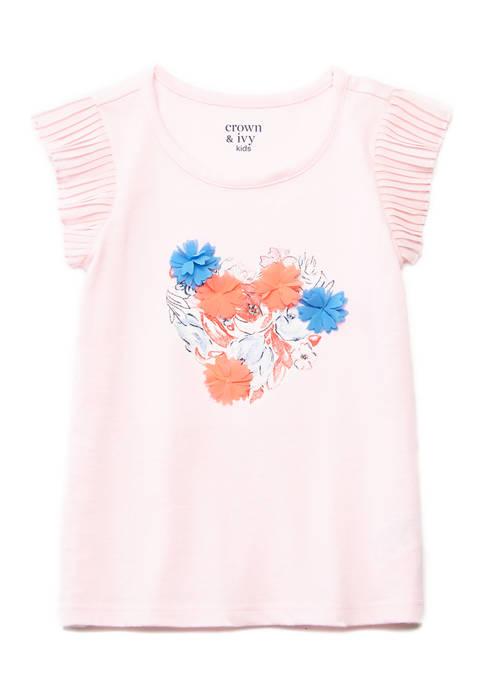 Crown & Ivy™ Toddler Girls Chiffon Ruffle Sleeve