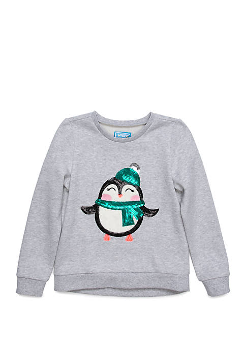 Lightning Bug Toddler Girls Sequin Sweatshirt