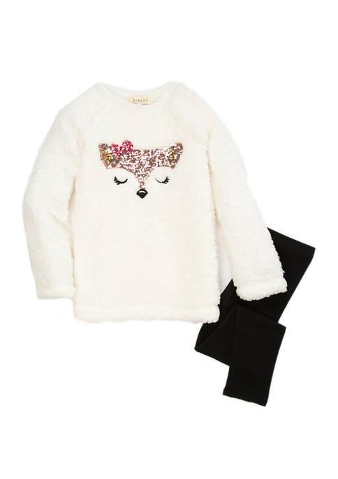 btween Toddler Girls Cozy Animal Leggings Set