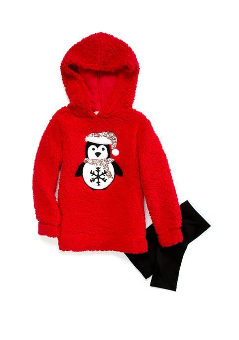 btween Toddler Girls Penguin Hoodie and Leggings Set