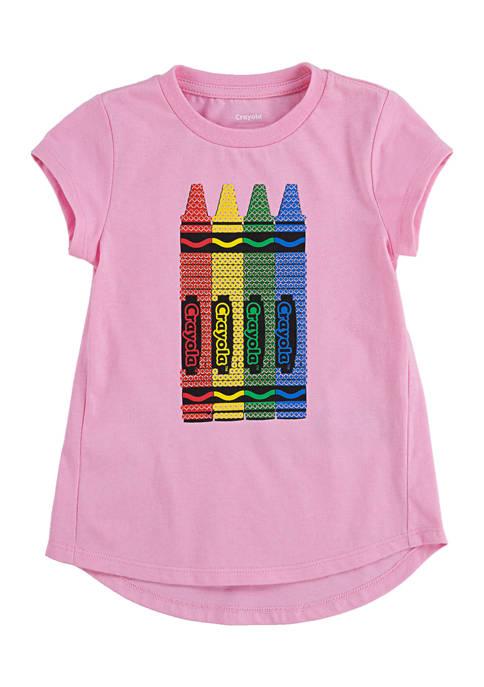 Crayola® Toddler Girls Sequin Crayon Graphic T-Shirt