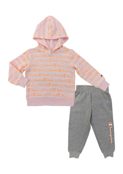 Toddler Girls Layered Script Fleece Hoodie and Joggers Set