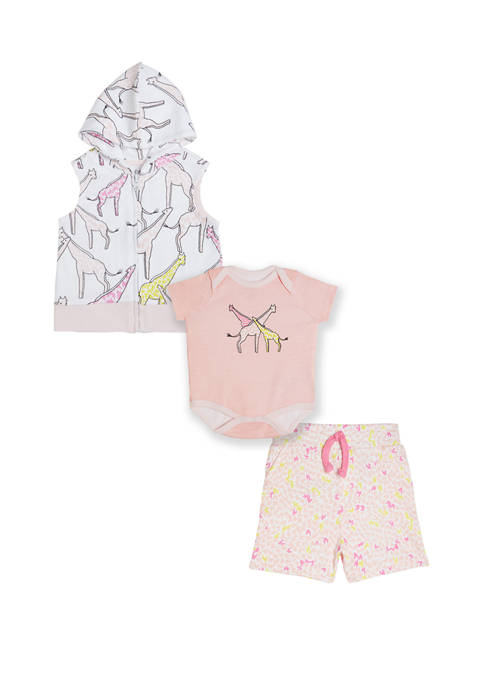 3 Piece Set In G.O.T.S Certified Organic Cotton Hooded Zip-front Vest Printed  Bodysuit And Printed Shorts   (NB-2yrs)