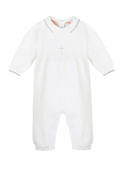 Carriage Boutique Baby Knitted Christening Romper with Silver