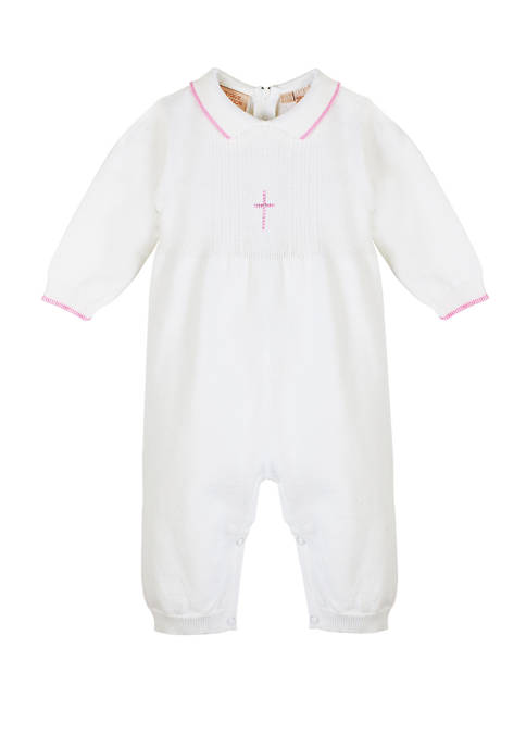 Carriage Boutique Baby Knitted Christening Romper with Pink