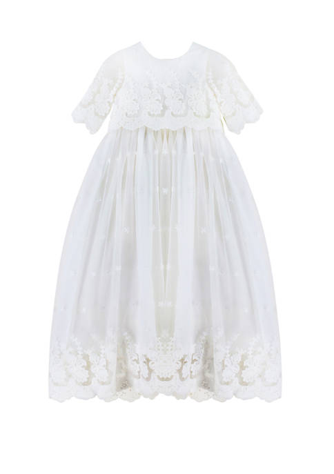 Carriage Boutique Baby Girls Exquisite Christening Lace Gown