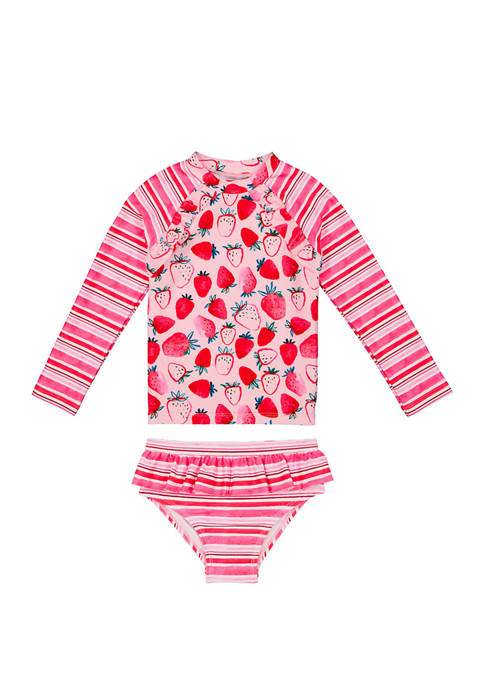 Baby Girls Two Piece Swim Rash Guard  Set
