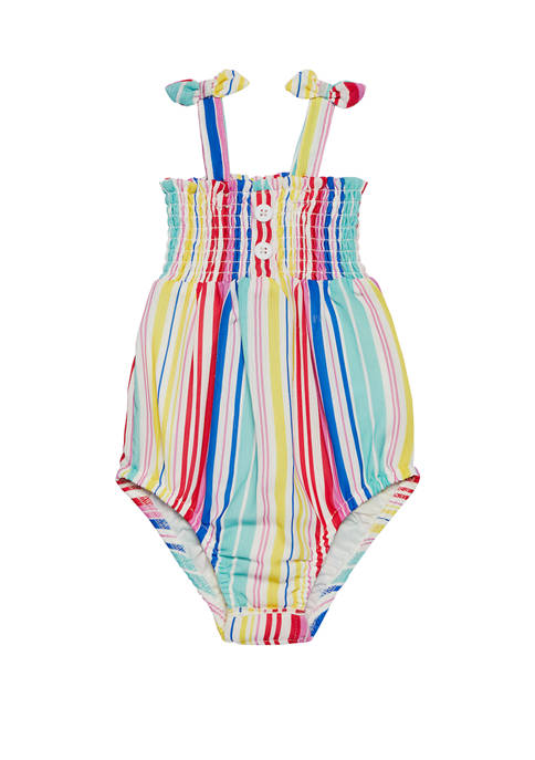 Andy & Evan Baby Girls Striped Bubble Bodysuit