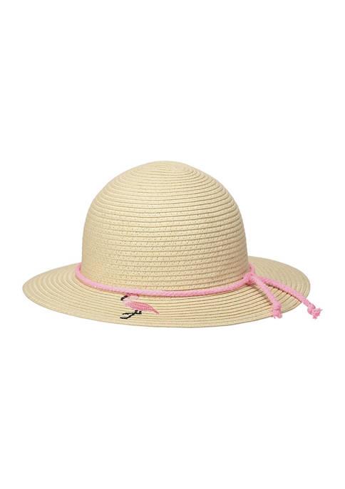 Girls Flamingo Straw Hat