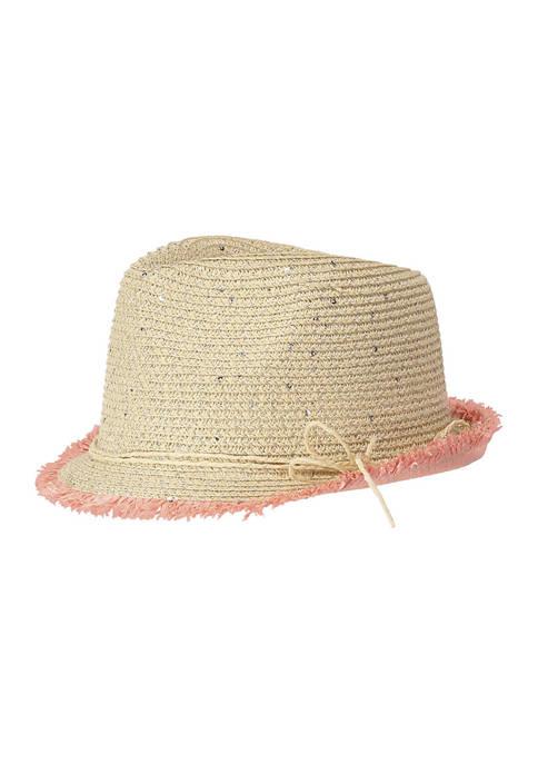 Andy & Evan Girls Pom Pom Straw Hat