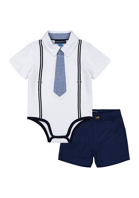 Andy & Evan Baby Boys White Polo Shirtzie
