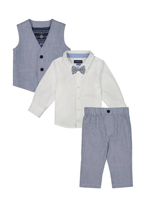 Andy & Evan Baby Boys 3-Piece Blue Seersucker