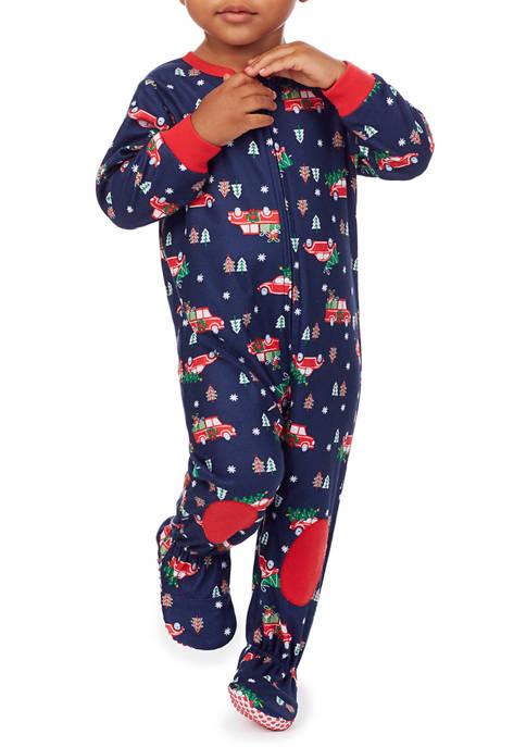 PAJAMARAMA Baby Red Truck One-Piece Pajamas