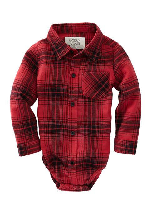 Baby Boys Long Sleeve Flannel Bodysuit