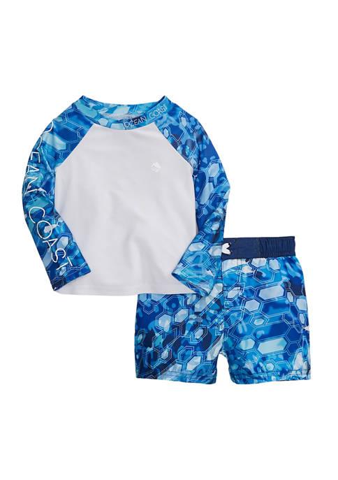 Baby Boys Printed Swim Rash Guard Set