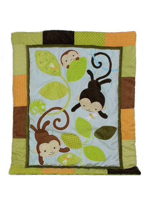Nurture Baby Swinging Monkeys 3 Piece Crib Bedding