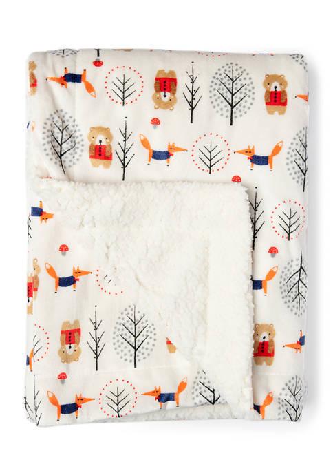 Tendertyme Baby Boys Bear Pattern Mink Sherpa Blanket