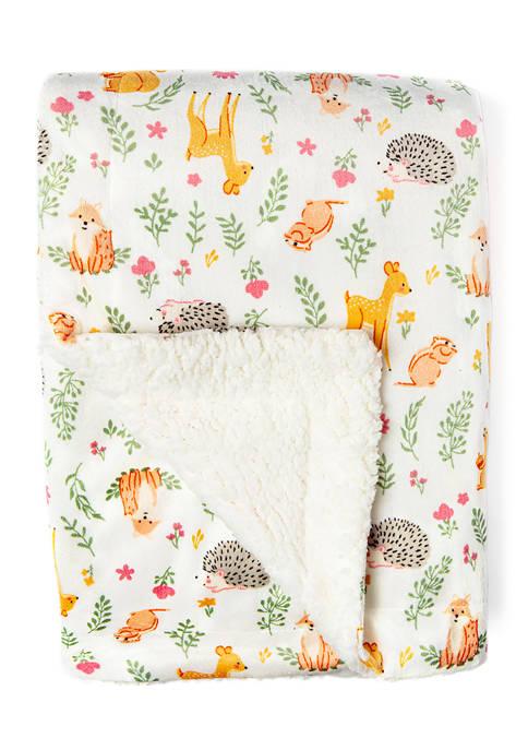 Baby Girls Fawn Pattern Mink Sherpa Blanket