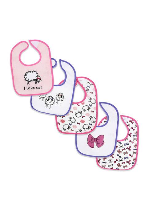 Grandmas2Share Baby Girls 5 Pack Sheep Terry Bibs
