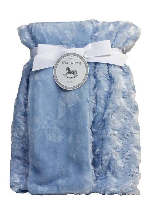 Tendertyme Baby Boys Curly Plush Blanket, Blue