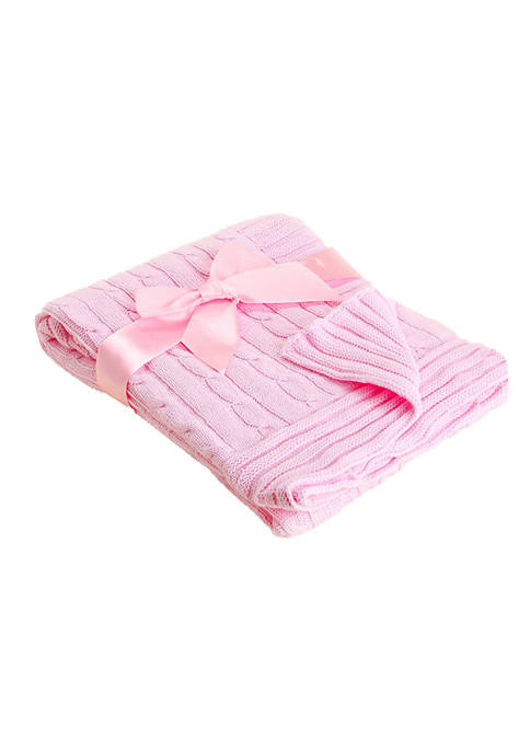 Baby Girls Pink Cable Knit Blanket