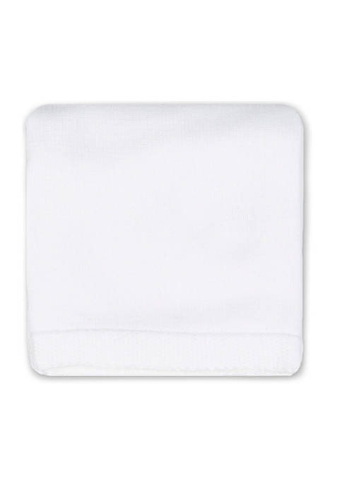 Tots Fifth Avenue Baby White Knit Blanket with