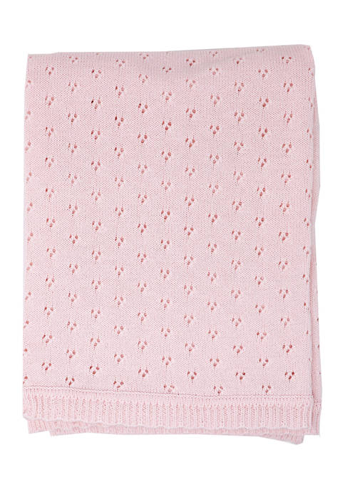 Baby Mode Signature Baby Girls Pointelle Layette Blanket
