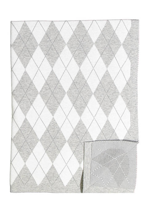 Baby Mode Signature Baby Argyle Knit Blanket, Gray