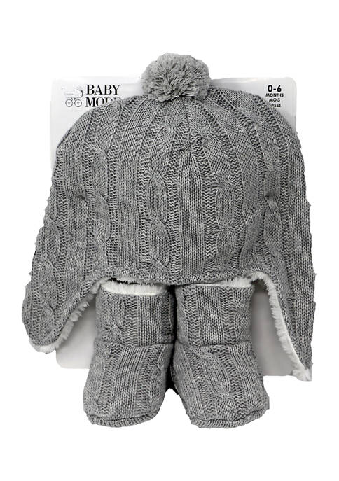 Baby Cable Knit Fleece Lined Hat and Boots, Cream