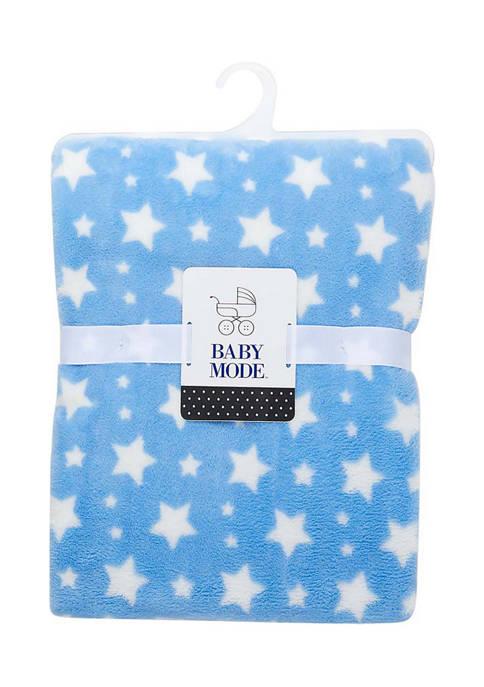 Baby Mode Baby Boys Plush Stars Blanket, Blue