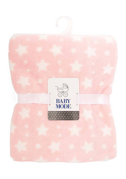 Baby Mode Baby Girls Plush Stars Blanket, Pink