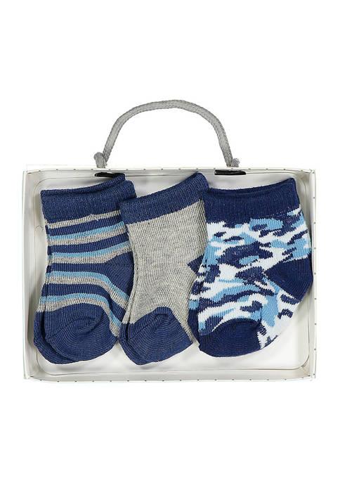 Baby Boys 3 Pack Blue Camouflage Crew Socks