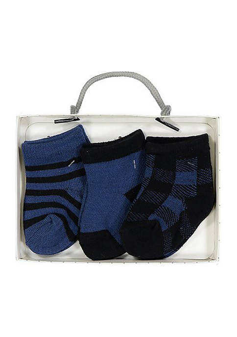 Baby Boys 3 Pack Buffalo Plaid Crew Socks