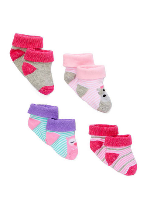 Amor Bebe Baby Girls 4 Piece Socks, Hippo