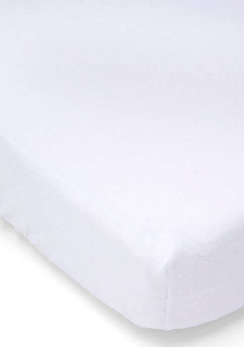 Baby Flannel Solid Crib Sheet - White