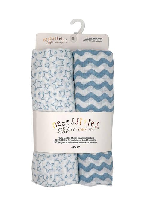 Baby Boys Stars Waves 2 Pack Muslin Swaddle Blankets - Blue Prints