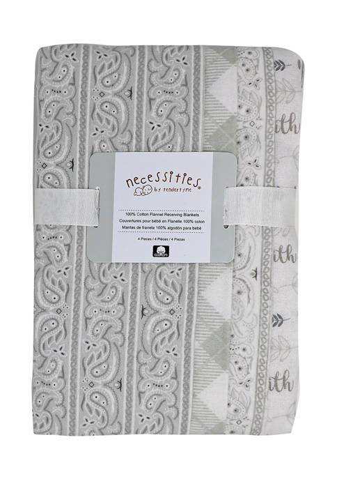 Baby 4 Pack Paisley Receiving Blankets - Gray