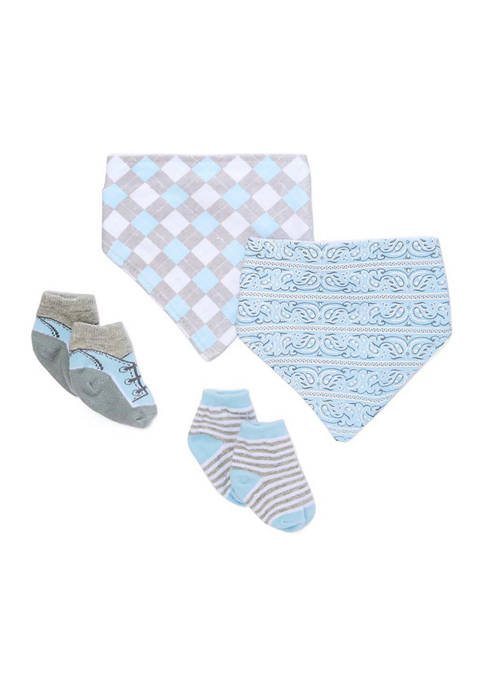 Baby Boys 4 Piece Blue Argyle Bibs and Socks Set