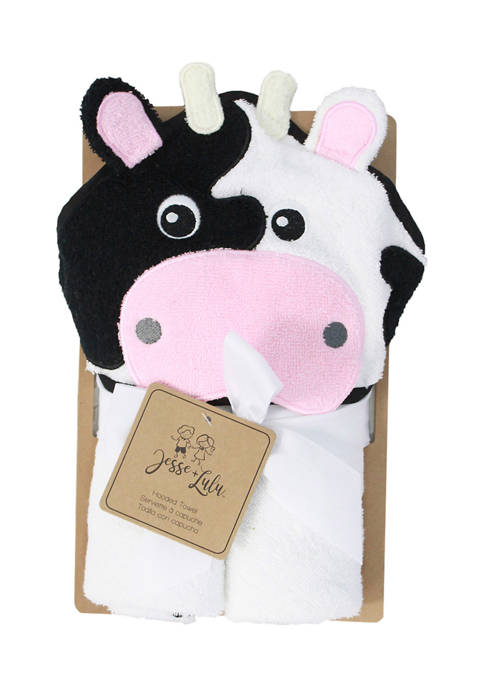 Jesse & Lulu Baby Cow Hooded Bath Towel