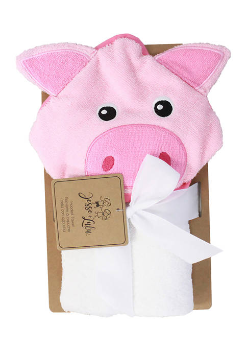 Jesse & Lulu Baby Piglet Hooded Bath Towel