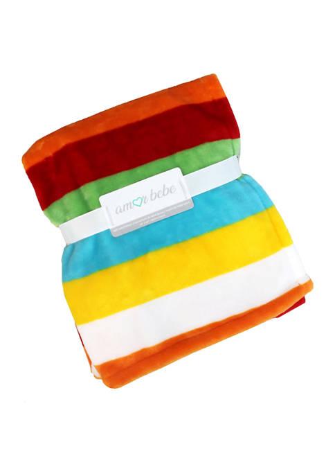Amor Bebe Baby Bright Stripes Coral Fleece Blanket