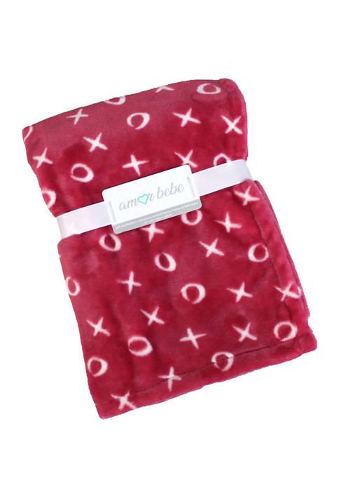 Amor Bebe Baby XOXO Coral Fleece Blanket
