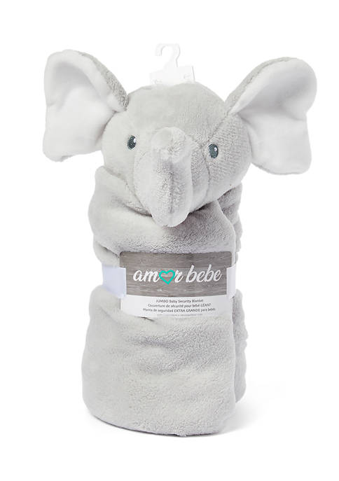 Amor Bebe Baby Jumbo Elephant Gray Security Blanket
