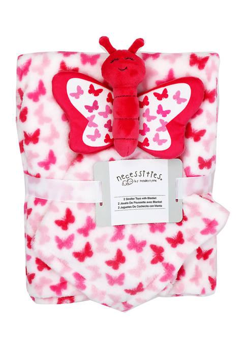 Baby Girls Blanket And Nunu Set - Butterfly