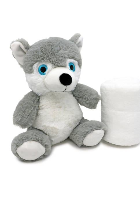 Baby Plush Gray Wolf With Blanket
