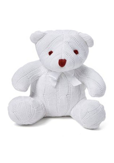 Baby White Cable Knit Snuggle Bear
