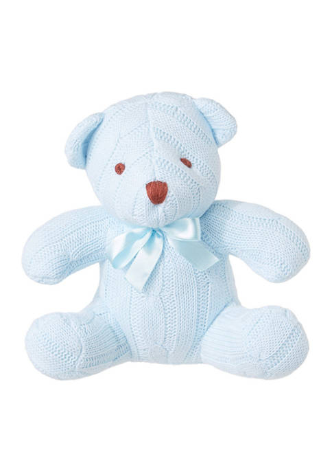 Baby Boys Blue Cable Knit Snuggle Bear